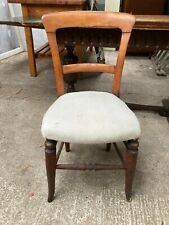 Vintage Antique Dining Bedroom Chair with Fabric Seat