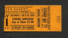Original 1977 Ted Nugent concert ticket stub Cat Scratch Fever Indiana State U.