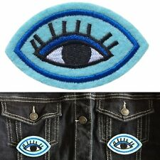 Intense Eye Iron on patch - blue eye lashes visual look optic embroidery patches