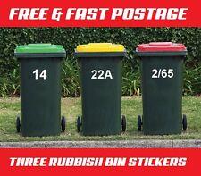 3 Wheelie Rubbish Garbage Bin Sticker House Number Identification Vinyl Decal