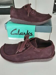 """Clarks """"Funny Dream"""" Aubergine Suede Leather Lace Up Loafer Casual Shoe size 4.5"""