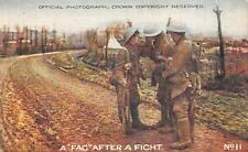 A FAG AFTER A FIGHT CIGARETTE SOLDIERS WWI MILITARY POSTCARD (c. 1915)