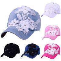 NEW Women Men Adjustable Flower With Lace Rhinestone Denim Baseball Mesh Cap Hat