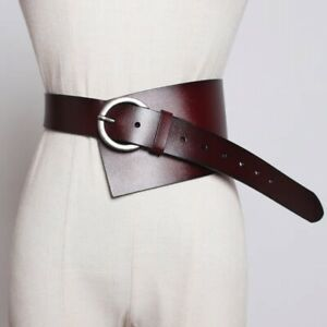 Wide Leather Asymmetrical Belt Unique Adjustable with Buckle Chocolate Free Ship