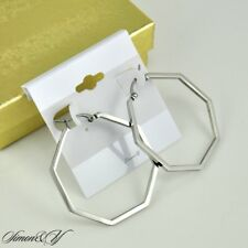 High Polished Stainless Steel Large Octagon Shaped Hoops Earring Ladies Womens