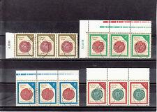 DDR ( BM) 3156 - 3159, Bogenmarken,waager, 3 er Streifen, gestempelt, siehe Scan
