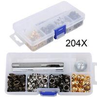 204 Set Ösen mit Scheibe 6mm Durchmesser Ösenzange Ösenwerkzeug - Kupfer DE NEU