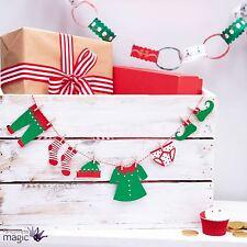 Ginger Ray Christmas Tiny Mini Elf Washing Line Bunting Garland Shelf Xmas Fairy
