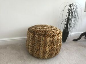 Cheetah Faux Fur Pouffe / Footstool. Made in the uk.