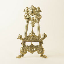 Vtg Ornate Brass Picture Frame Photo Easel Stand Cherub Footed Putti Art Nouveau