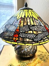 Table Lamp Tiffany Red/Yellow/Blue Dragonfly Stained Glass Bronze Modern New!