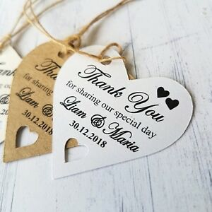Personalised Wedding Favour Tags Thank You For Sharing Heart Labels With Twine