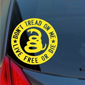 Don't Tread on Me Live Free or Die vinyl sticker decal DTOM Gadsden rattlesnake