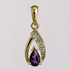 NATURAL AMETHYST PENDANT GENUINE DIAMOND REAL 9K GOLD FEBRUARY BIRTHSTONE NEW