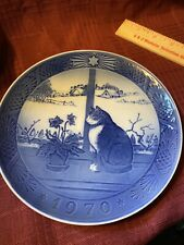 1970 Royal Copenhagen Plate.Christmas and Cat.Kai Lange