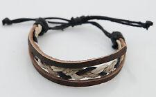 Bracelet bresilien cuir bijoux ethnique creation fait main-marron- BB577