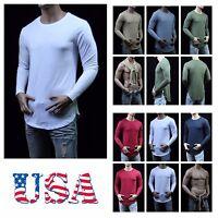 Men Long T-Shirt Extended Caual Tee Hip Hop  Bboy Crew Neck Unisex Zipper S-2XL