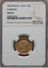 Italy Sardinia gold 1827 20 l  NGC AU-55