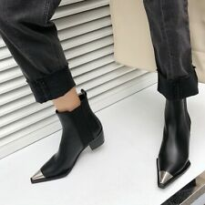 Women's Leather Chelsea Boots Fashion Chunky Mid Heel Booties Pointed Toe Shoes