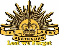 Australian Army Lest We Forget Diecut vinyl sticker decal  125x100mm