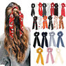 Lady Elastic Bow Satin Long Ribbon Ponytail Scarf Hair Tie Scrunchies Hair Rope