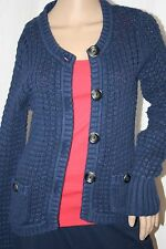 EDDIE BAUER LARGE CABLE KNIT BUTTON UP CARDIGAN NAVY SWEATER COTTON TOP M