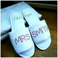 Personalised White Slippers Diamante Wedding Spa Guest Shoe Towelling Pink Bold