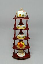 Platinum Bespaq Corner Shelf  & Porcelain Dish Set Dollhouse Miniature 1:12
