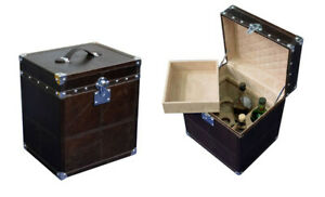 Handmade Portable Brown Color Leather Mini Bar with Elegant and Designer Style.