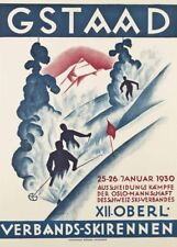 Vintage Ski Posters GSTAAD SKI CONTEST Jan 1930, Swiss, 250gsm A3 Travel Print
