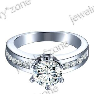 Solid 14K White Gold Graded Cubic Zirconia Ainiversary Wedding Antique Ring