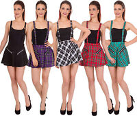 New Banned Plaid Tartan Check Emo Punk Sexy Short Pinafor Mini Skirt Braces