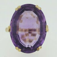 9ct Yellow Gold Amethyst Ring Size L