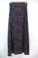 Women's LULAROE Maxi SKIRT Sz Small Rare Multi Color Tile Print Foldover Waist