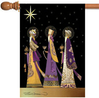 Toland Three Wise Men 28 x 40 Christmas Winter Gold Star Bethlehem House Flag
