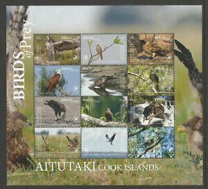 AITUTAKI 2018 BIRDS OF PREY (12) M/S, WITHOUT FRAME, SCOTT No 998-1009, MNH**