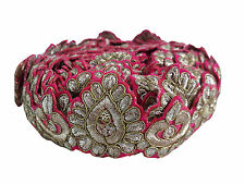9mtr lace border trim copper embroidery on rani pink base, 5cm wd