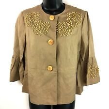 Newport News jacket Sz 6 linen blend tan wood bead embellished 3/4 crop