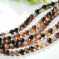 DIY Natural Tawny Stripe Banded Agate Round Gemstone Loose Beads 4/6/8/10/12mm