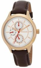NWB Fossil BQ1587 Rose Gold Tone Multifunction Brown Leather Band Women's Watch
