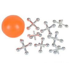 1 SET OF METAL STEEL JACKS WITH SUPER RED RUBBER BALL GAME CLASSIC TOY NEW