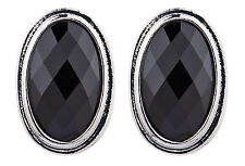 CLIP ON EARRINGS - silver plated earring with a black oval stone - Winnie