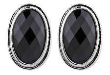 CLIP ON EARRINGS - silver earring with a black oval stone - Winnie