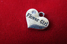 "BULK! 15pc ""Flower girl"" charms in antique silver style (BC320B)"