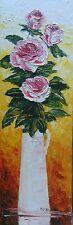 Toile de Nolac 60X20 cm tableau ROSES bouquet peinture