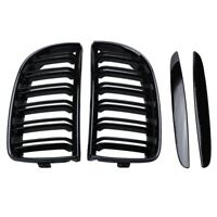 Double Slat Sport Kidney Grille Grill Black for BMW E90 E91 2005-2008 H6I2