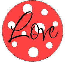 "RED w/LOVE WITH POLKA DOTS - 1"" Round Labels Stickers"