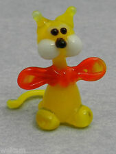 Glass Blown Art Figurine Animal Mini Yellow CAT red bowtie Murano Style # 4250