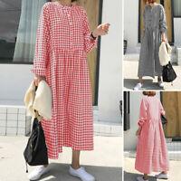 ZANZEA Femme Vérifier Manche Longue Bouton avant Flowy Ample Robe Dresse Plus