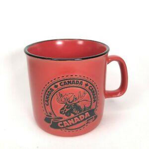 Vintage Canada Coffee Mug Red Buck Maple Leaf Logo Engraved Souvenir Cup C13